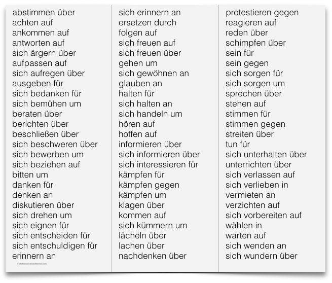 الأفعال الالمانية مع حروف الجر فى حالة الإضافة
