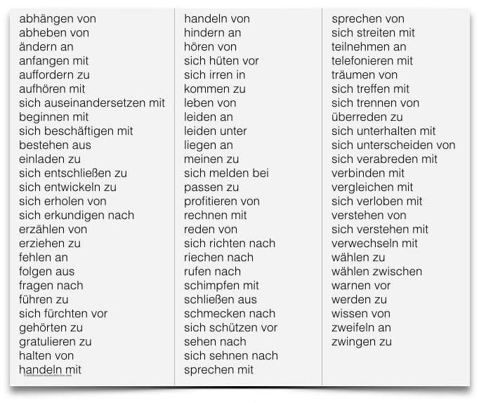 الأفعال الالمانية مع حروف الجر فى حالة الجر