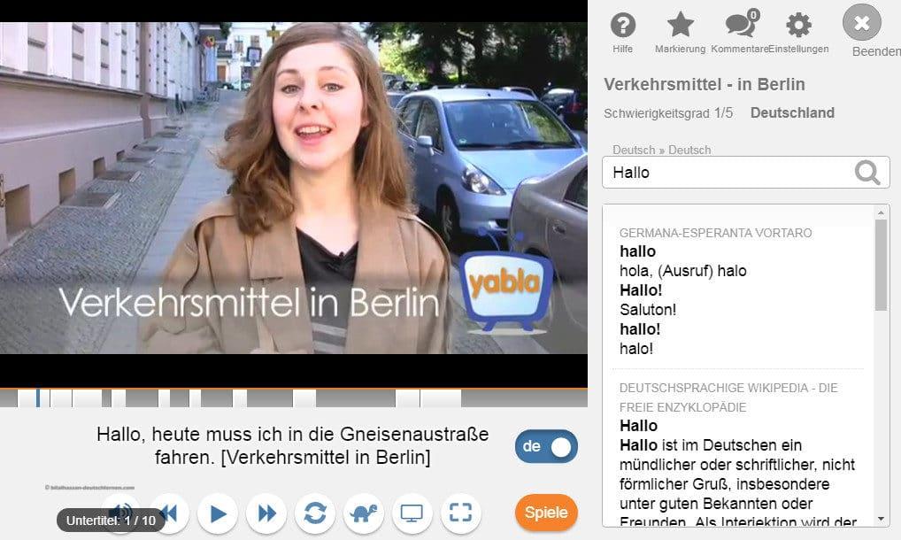 لقطة من فيديو على موقع Yabla