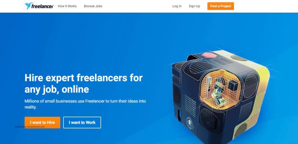 واجهة موقع Freelancer للعمل الحر على الأنترنت كمترجم