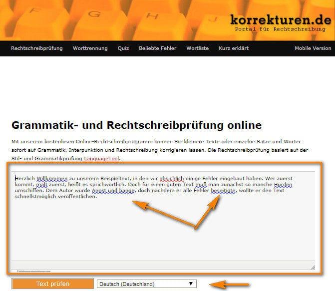 موقع korrekturen لتصحيح الكتابة باللغة الالمانية