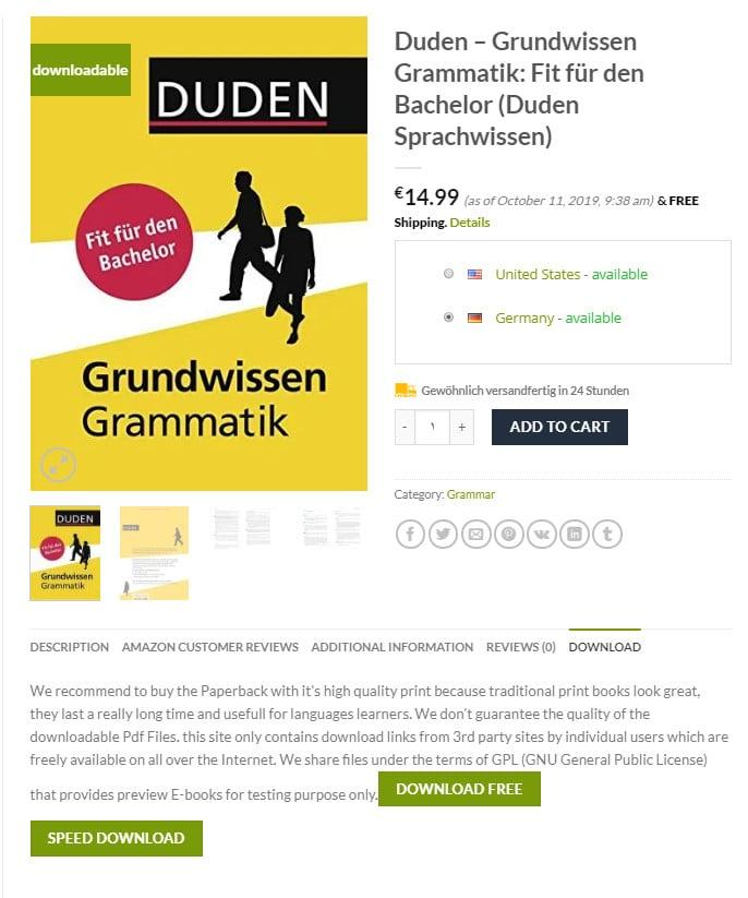 صورة توضح كيفية تحميل كتب المانية مجانية من موقع GERMAN-EBOOKS