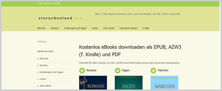 واجهة موقع  STERNCHENLAND  لتحميل الكتب