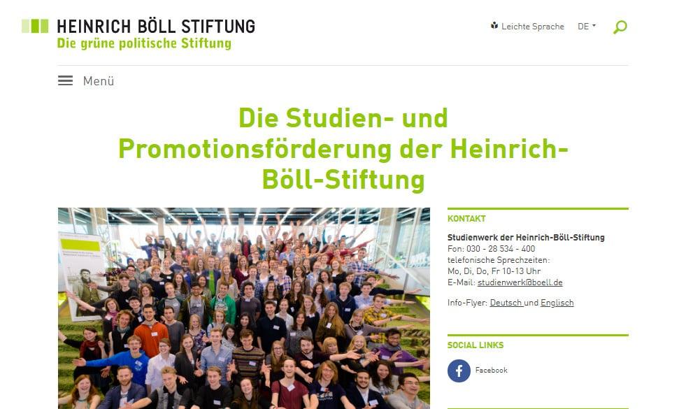 واجهة موقع  مؤسسة Heinrich Böll للتقديم على منح دراسية فى ألمانيا