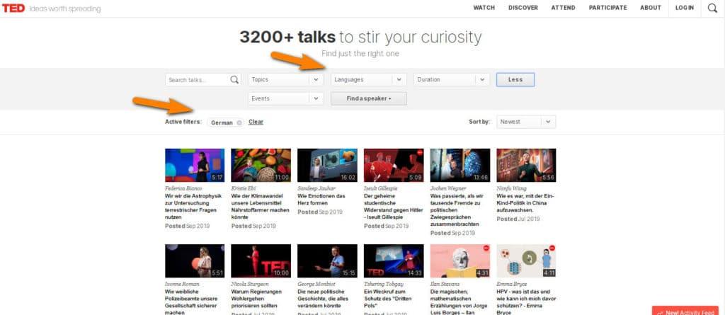موقع TED العالمى وإختيار اللغة من بين 100 لغة